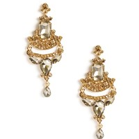 Sale-gold Faceted Gems Drop Earrings