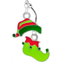 Stainless Steel Double Mount Green Elf Hat and Boot Christmas Charm Dangle Belly Ring | Body Candy Body Jewelry