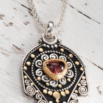 Silver and Gold Pendant, Hamsa Pendant Necklace, Hamsa Necklace Sterling Silver, Red Stone Necklace, 22k solid Gold Pendant, Judaica Jewelry