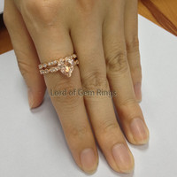 Art Deco Heart Shaped Pink Morganite Matching band Ring Diamonds,14K White Gold