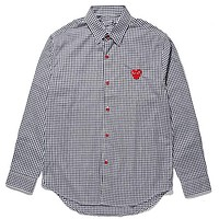 PLAY tide brand men's and women's cotton black red plaid cardigan shirt Grey