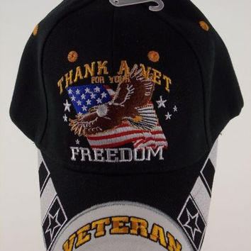 Thank A Vet For Your Freedom Veteran Military Baseball Cap Hat Black Embroidered