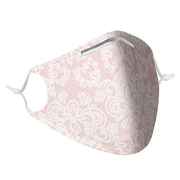 LIGHT PINK LACE - MASK WITH (4) PM 2.5 CARBON FILTERS