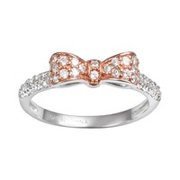 Sophie Miller 14k Rose Gold Over Silver & Sterling Silver Cubic Zirconia Bow Ring (White)