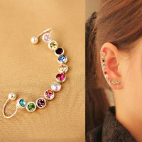 Rainbow Rhinestone Ear Cuff (Single,Bendable,No Piercing) | LilyFair Jewelry