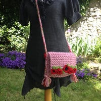Hand-Knitted Crossover Bag with Poppies - Festival, Hipster, Shabby Chic, Gift, Cottage Chic, Rustic, Shoulder Bag