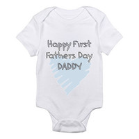 Happy First Fathers Day Daddy Scribble Heart Baby Onesuit
