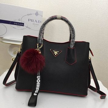 prada women leather shoulder bags satchel tote bag handbag shopping leather tote crossbody 174
