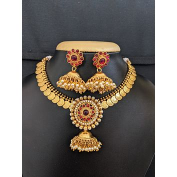 Classic Lakshmi coin design choker necklace and Jhumka earrings set