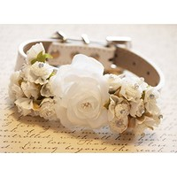 Ivory Floral dog collar, Pet accessory, Ivory flowers, beaded, Rhinestone, Leather dog collar, Handmade, wedding accessory