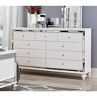 Wooden Dresser Accented With Mirror Outline, White