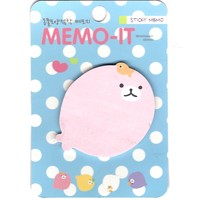 Pink Baby Seal Shaped Memo Sticky Post-it Note Pad | Animal Themed Stationery
