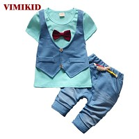 Baby Boys Clothing Sets Children vest two jacket tops+ Shorts Kids formal Clothes Suits