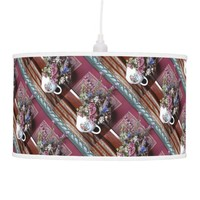 Vintage Teapot with Flowers Hanging Lamp