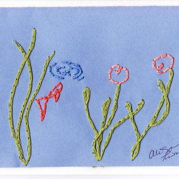 BUY3GET1FREE Blank Hand Made Embroidered Blue Fish Pond Greeting Gift Note Thank-you Get Well Card with Envelope- Papergoods