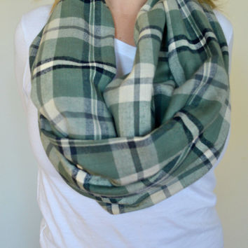 Olive Plaid scarf, Warm Blue Infinity Scarf, A1