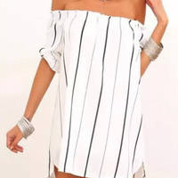 Off Shoulder Black and White Summer Dress