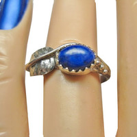 Vintage Navajo Lapis Feather Ring Sterling Sz 6