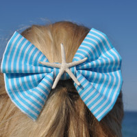Aqua Striped Hair Bow