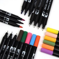 24 color set broad 0.4mm Fine Piont Dual Tip Sketch Mango Drawing Marker Pen brush available color watercolor school supplies XM