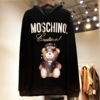 """MOSCHINO"" Fashion Women Men Casual Cute Bear Print Embroidery Long Sleeve Hooded Cotton Couple Sweater Top Sweatshirt Black I13612-1"