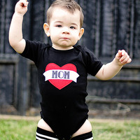 NEW Mom Tattoo inspired Onesuit - Black, gray bodysuit - Heart, Children Clothing Holiday  nb-3, 3-6, 6-12, 12-18m baby boy