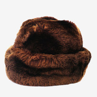 Soviet vintage sheep fur hat women fur hat authentic USSR sheep hat chcolate brown warm winter hat gift for women lumberjack autumn hat