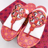 Tory Burch Miller Sandals Flip Flop Orange Coral Pink 7 7.5 8 8.5 10