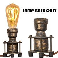 Modern Vintage Industrial Table Lamp Base E26 Edison - Steampunk Antique Accent Standing Lights, Retro Small Desk lamp Bedside for Living Room Bedroom Coffee House Bar Decoration(Bulbs Not Included) Gold