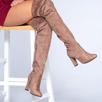 Lose Control Thigh High Boots - Taupe