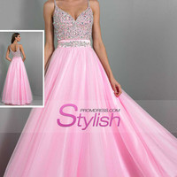 2015 Spaghetti Straps Prom Dresses Beaded Bodice Tulle Floor Length New Arrival US$ 179.99 STP27JX5NG - StylishPromDress.com for mobile