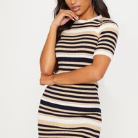 Cream Striped Knitted Short Sleeve Dress