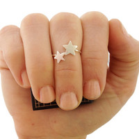 Star Ring-  Above The Knuckle Simple Ring - Two Shooting Stars -Sterling Silver- Celestial Jewelry- Wishing Star Midi Ring