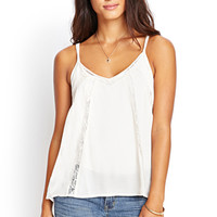 LOVE 21 Lacy Cutout Woven Cami Beige