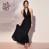 Haoduoyi  Womens2016 Summer Black Party Evening Girl Prom Maxi Dress Backless Sexy Long V-Neck Loose Slim Dresses