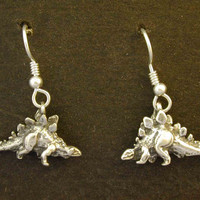 Sterling Silver Stegosaurus Earrings on Heavy Sterling Silver French Wires