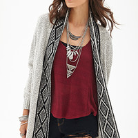 FOREVER 21 Southwestern-Inspired Cardigan Cream/Black