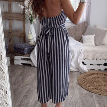 New sexy halter halter sleeveless striped jumpsuit