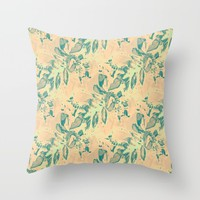 Peach and Teal Throw Pillow by RokinRonda | Society6