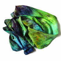 Silk Scarf ruffled Hand Dyed Grass green Dark purple Aqua Yellow green Ocher New design