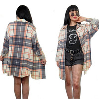 vintage 90s plaid shirt soft grunge button up slouchy oversized cream blue peach shirt top Seattle grunge flannel large