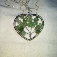 Aventurine Tree Of Life Heart Wire Wrap Silver Plated Necklace