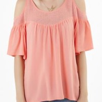 Sweetest Thing Cold Shoulder 3/4 Bell Sleeve Top in Candy Pink   Sincerely Sweet Boutique