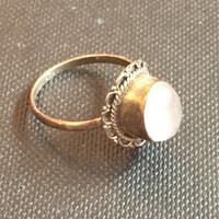 Rose Quartz Ring Sterling Silver Vintage Jewelry