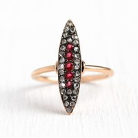Diamond Navette Ring - Antique 10k Rose Gold .60 CTW Rose Cut Diamond Marquise Ring - Size 6.5 Vintage 1900s Garnet Doublets Fine Jewelry