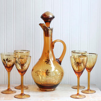 Amber Wine Decanter with 6 Wine Glasses, Genie Wine Bottle, Vintage Barware, Made Romania, Autumn Home, Thanksgiving Table Setting, Golden