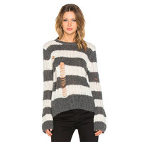 2016 Trending Fashion Cardigan Stripes Printed Women Pullover Big Hole Ripped Destroyed Distressed Cardigan Coat Jacket Outerwear_ 9412