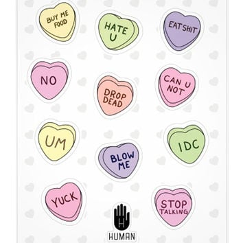 F U CANDY HEARTS STICKERS - PREORDER