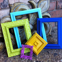 Empty Frame Collection Set, Bright and Chic, Upcycled Home Decor, Funky Vintage, Lime, Cobalt Yellow