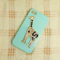 Crystal Alloy Giraffe DIY iPhone 4 4S 5 Cover Case Apple Accessory- Choose the Color and Size of Case